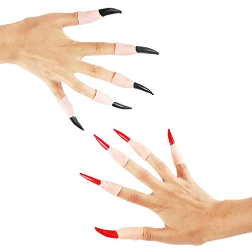 Livoty 10Pcs Zombie Witch Fake Finger Nails Set Halloween Party Roll Play Prop Toys (Black)