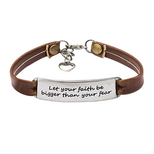 Ladies Vintage Antique Inspirational Leather Bangle Bracelets Jewellery Engraved Message Encourage Let Your Faith Be Bigger Than Your -