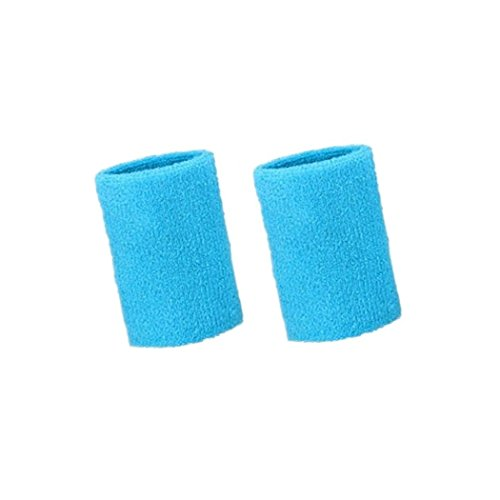 (Mcolics 4' Inch Wrist Sweatband in 11 Athletic Cotton Wristbands Armbands (1 Pair) (Sky Blue))