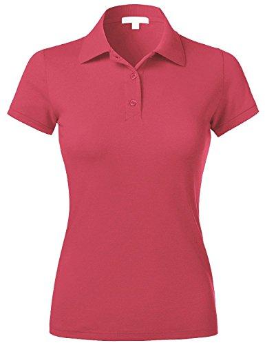Ma Croix Essentials Womens Polo Shirts Slim Fit Stretch Pique Plain Uniform Short Sleeve Jersey