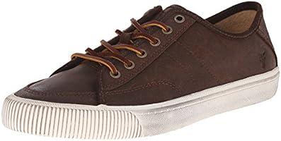FRYE Men's Miller Low Lace Fashion Sneaker, Dark Brown Waxed Vintage Leather, 7 M US
