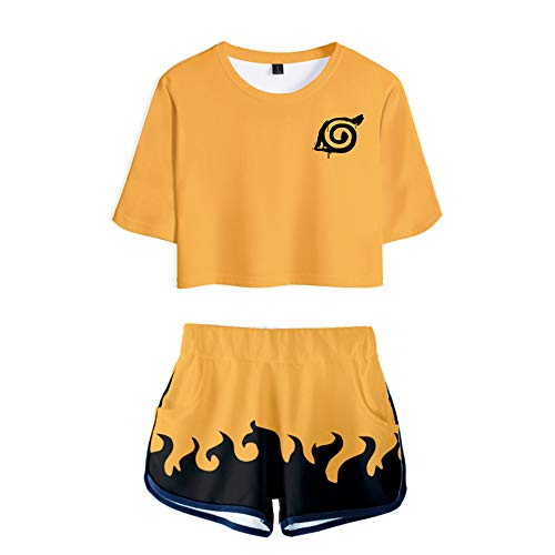 2 PieceAkatsukiOutfits for Women Uchiha Short Sleeve Crop Top and Short Pants Sets (4, Small) ()