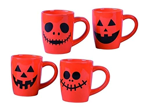 Jack-O-Lanterns Pumpkin Orange 12 ounce Ceramic Dolomite Halloween Mugs Set of -
