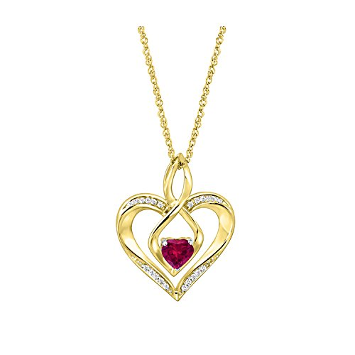 Ruby 14k Yg Clasp - Craft On Jewelry 14k Yellow Gold Plated 0.54 Ct Simulated Ruby Infinity Heart Love Pendant Necklace for Womens Teens 18