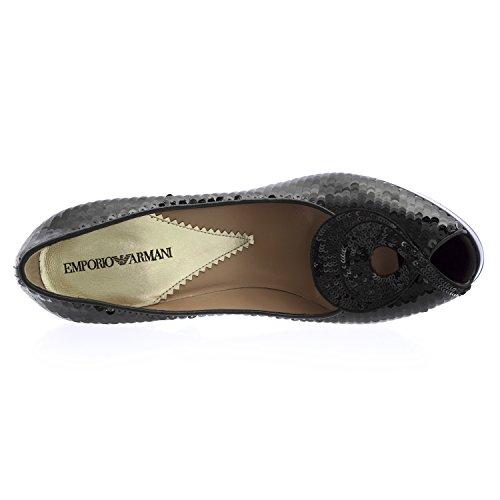 Emporio Armani Womens Sequin Peep Toe Pumps Black vVSguN