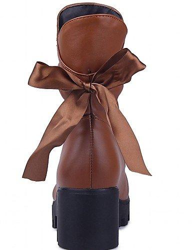 XZZ/ Damen-Stiefel-Hochzeit / Büro / Kleid / Lässig / Party & Festivität-Kunststoff / Lackleder / Kunstleder-Keilabsatz-Armeestiefel / Cowboy black-us8 / eu39 / uk6 / cn39