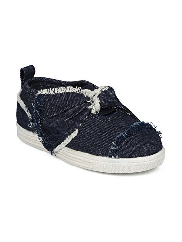 Indulge Bowie Girls Frayed Denim Bow Tie Slip On Low Top Sneaker HE60 - Dark Blue Denim (Size: Toddler 9)