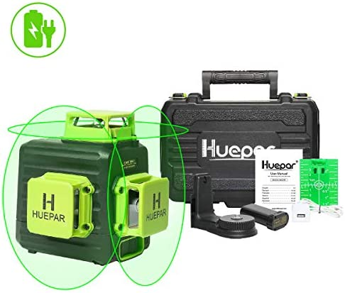 Huepar 3D Cross Line Self-leveling Laser Level 3 x 360 Green Beam Three-Plane Leveling and Alignment Laser Tool, Li-ion Battery with Type-C Charging Port Hard Carry Case Included – B03CG Pro