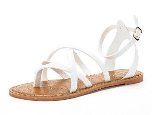 DREAM PAIRS SLIM New Women Fashion Crisscross straps Summer Gladiator Design Flat Sandals SLIM-WHITE SIZE 11