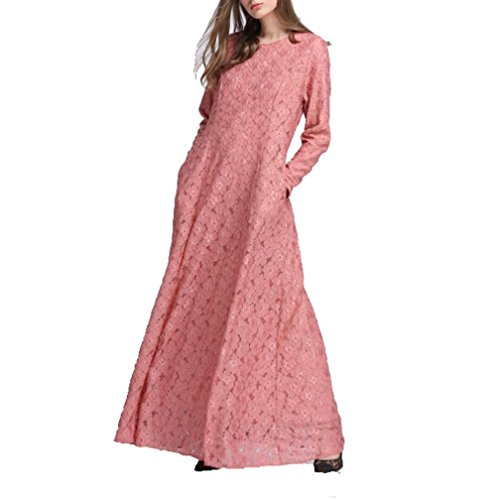 Beikoard Vestidos de Manga Larga de Las Mujeres, Encaje musulmán, Faldas largas para la adoración Rosa