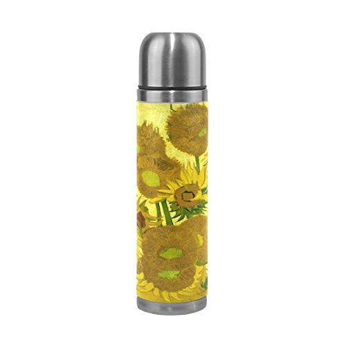 ALAZA Van Gogh Sunflowers Art Vacuum Flask 17 oz, Double Layer Stainless Steel Vacuum Insulated PU Leather Travel Mug Kettle Bottle Cup