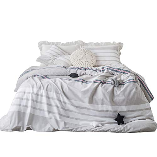 SUSYBAO 3 Piece Duvet Cover Set 100% Cotton Light Gray Queen Size Pink Stripe Bedding Set with Zipper Ties 1 Grey Striped Duvet Cover 2 Pillowcases Hotel Quality Soft Modern Lightweight Durable ()