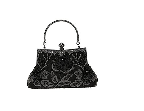 Clutch Vintage Purse Party Sequined Baglamor Wedding Roses Beaded Bag Evening Black And Style Women's PCSwxqT