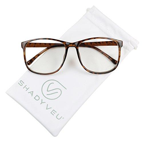 ShadyVEU - Retro Fashion Over Size Round Thin Nerdy Novelty P3 Aviator Eye Glasses (Tortoise Frame, - Eyeglass Frames P3