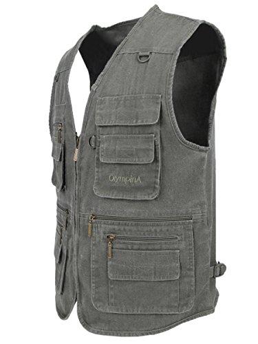 Stone Vest Denim Green Multi LUSI Fishing Dark MADAM pocketed Men's Washed OIE48