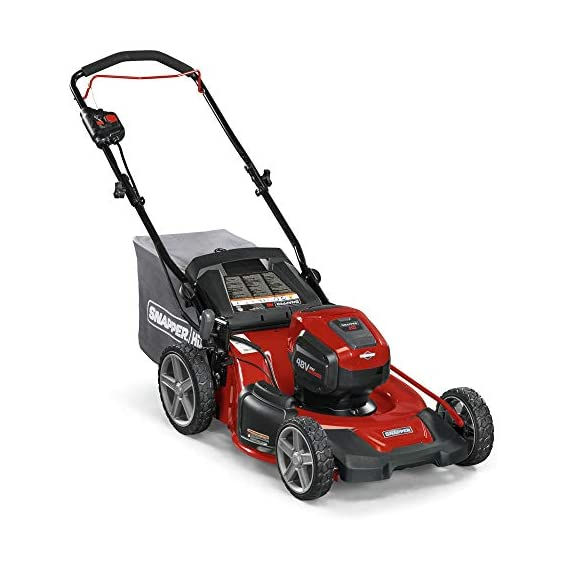 Snapper HD 48V MAX Cordless Electric 20-Inch Lawn Mower Kit with (1) 5.0 Battery and (1) Rapid Charger 2 Up to 90 minutes of run time with 5. 0 Battery under light loads** 3-in-1 mulch/bag/side-discharge options on 20-inch steel deck Intelligent load sensing technology - allows for optimum power levels while you mow for maximum efficiency