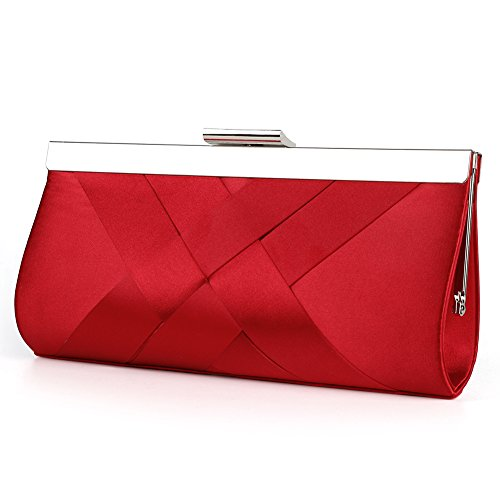 Bidear Satin Evening Bag Clutch, Party Purse, Wedding Handbag with Chain Strap for Women Girl (Red)