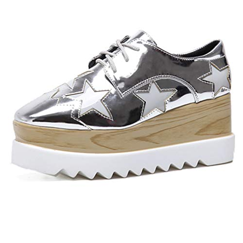Women's Wood Platform Star Oxford Shoes Casual Square Toe Lace-up Mid Heel Wedges Creepers Sliver