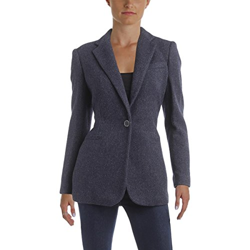 (LAUREN RALPH LAUREN Womens Angona Fall Tweed One-Button Blazer Navy 10)