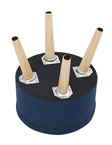 N A Repose-Pieds Pouf Tabouret Coffres De Rangement Pouffe Ottoman Tabouret Rond Rembourré en Lin avec Couvercle Amovible Pieds en Bois Massif (Bleu)