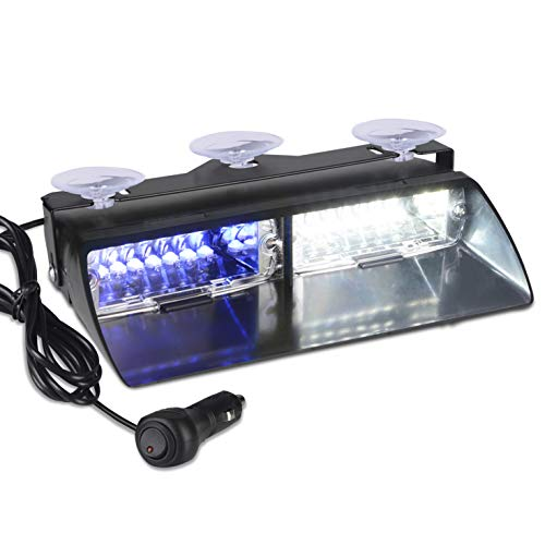 12V Law Enforcement Emergency Car Strobe Lights, Linkitom 16 LED Hazard Warning Beacon Lights for Vehicle Interior Roof/Dashboard/Visor/Front Windshield with Suction (Blue&White) ()