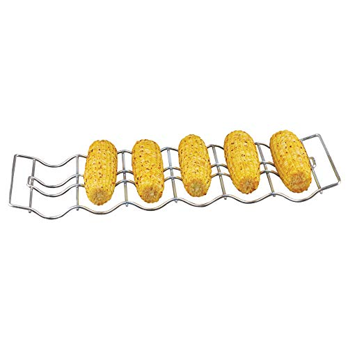 Collections Etc BBQ Corn Grilling Rack with Handles, Made from Stainless Steel - Holds Up to 6 Ears of Corn (Basket Grilling Corn)