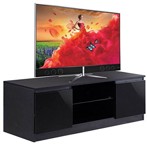 Curved Panel Low Profile Bed (High Gloss TV Stand Unit Cabinet Media Console Furniture w/ LED Shelves Black)