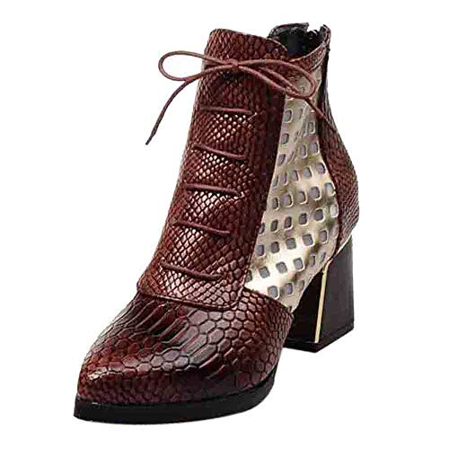 (Ankle Boots Snake for Women,Sunyastor Fashion Lace Up Short Boots Pointed Toe Winter Shoes Plus Size Thick High Heels Boots)