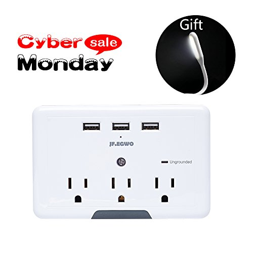 Multi Plug 3 Outlets 3 USB Ports, Wall Plug Surge Protector USB, 3.1 A 918 Joules USB Outlet Adapter, USB Wall Plug Charging Stations, Wall Mount USB Multi Outlet Plug Adapter JF.EGWO