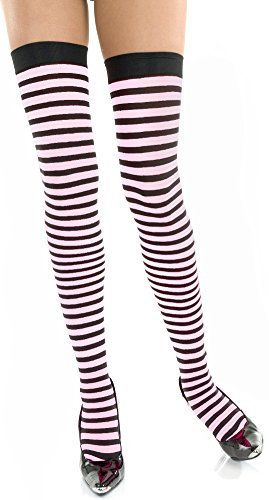 White & Black Striped Thigh High Stockings (Adam & Eve Costume)