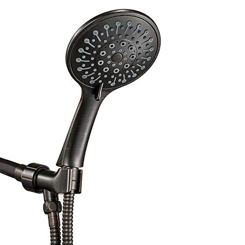 "ANZA High Pressure Handheld Shower Head With Hose, 6 Spray Modes, Spa Grade, Rainfall 4.7"", Hand Held Shower Head For Low Flow With Long Hose, Adjustable Bracket, Teflon Tape, Oil-Rubbed Bronze"