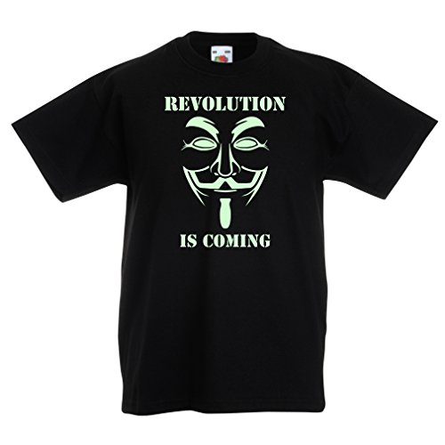 lepni.me Kids T-Shirt The Revolution is Coming - The Anonymous Hackers mask, V for Vendetta (12-13 Years Black Fluorescent) ()