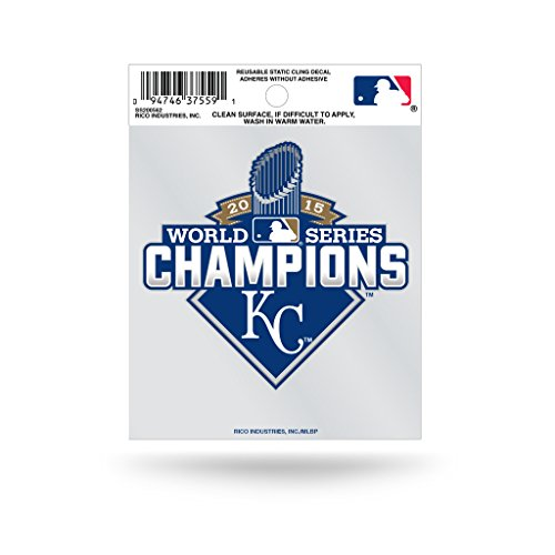 Clings Baseball Window (Rico Kansas City Royals Official MLB 3.5 inch x 3.75 inch 2015 World Series Champions Small Static Cling Window Car Decal by 890582)