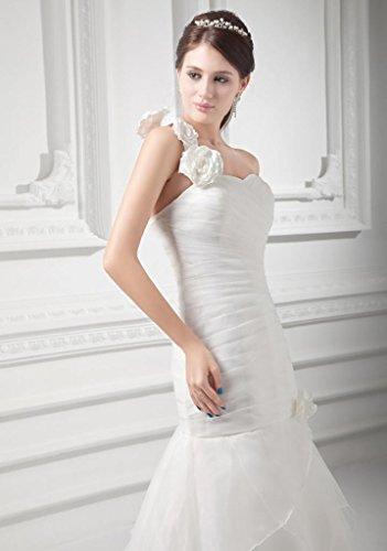 mit Schulter Brautkleid Vintage 1 Elfenbein WunderSchoen Organza Satin Bluete und Handgemacht HTE40Swq