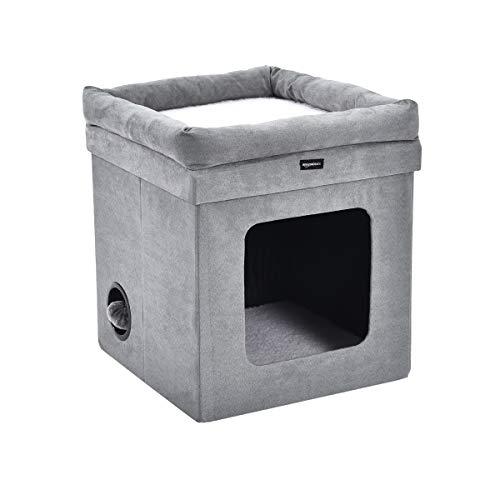 AmazonBasics Collapsible Cube Cat Bed – 15 x 15 x 17 Inches, Grey