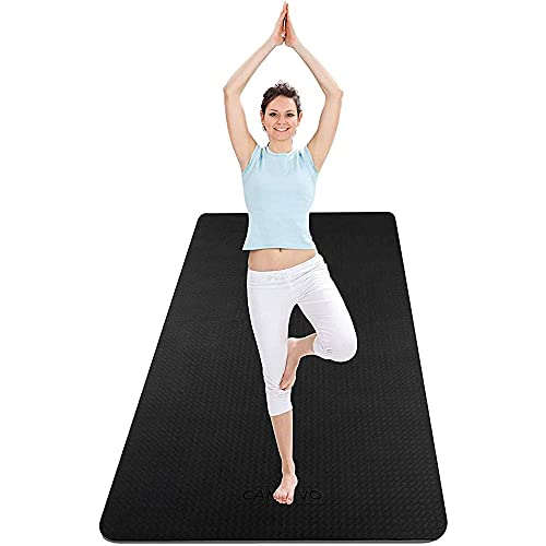 CAMBIVO Extra Wide Yoga Mat for Women and Men (72″x 32″x 1/4″), Eco-Friendly SGS Certified, Large TPE Exercise Fitness Mat with Strap for Yoga, Pilates, Workout