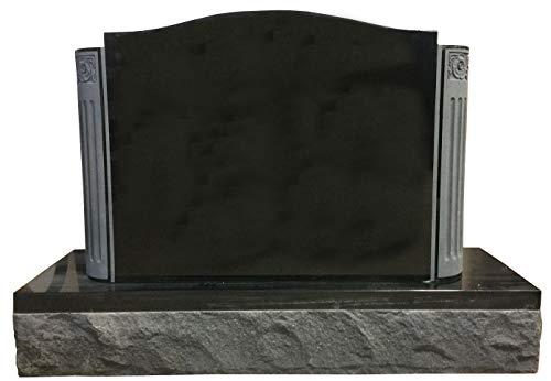 Upright Monument Gravemarker Headstone Black with Carved Engaged Columns Granite Gravestone MN-239