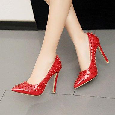 Talones de las mujeres Primavera Verano Otoño Club de cuero de los zapatos de patente de fiesta y noche casual tacón de aguja Remache Negro Rojo Red