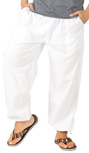 White Clothing Mens Casual Shorts - CandyHusky Mens Cotton Loose Joggers Casual Lounge Pajama Gym Workout Yoga Pants (White)