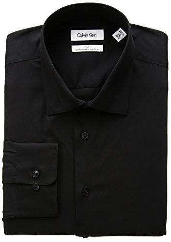 Calvin Klein Men's Big and Tall Dress Shirts Non Iron Herringbone Solid, Black 17.5
