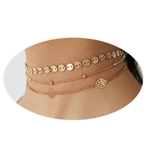 Handmade Beaded Choker - T-Doreen Elegance Golden Choker Set Handmade Hollow Out Rose Flower Coin Chain Jewelry for Women