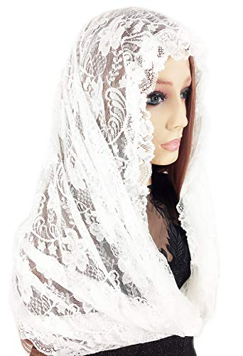 Pamor Infinity Veils Tulle Scarf Catholic Church Veil Head Covering Latin Mass Mantilla with Free Hairclip