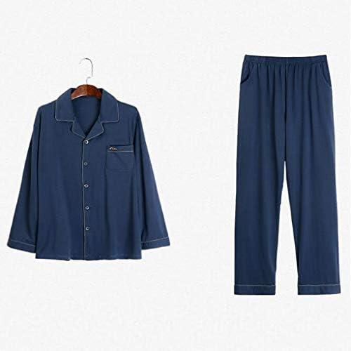 YQQ パジャマ、男性の春と秋のモデルモーダルコットン長袖ホームサービス、男性の春と夏の薄いスーツ (Color : L)