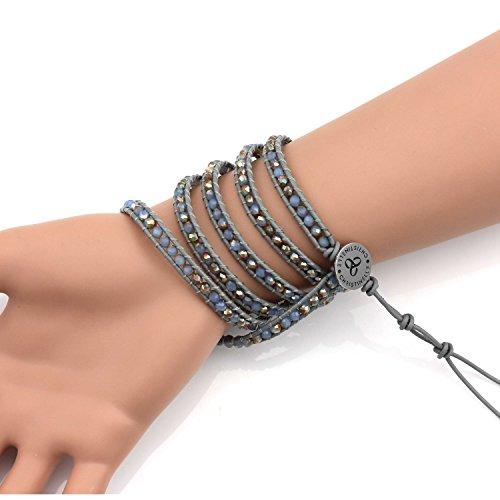 Christinelle, bracelet cuir, perles Bracelets pour femme, cristal coloré, perles, 91,4cm