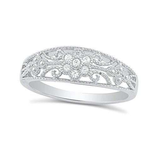 Sterling Silver Cz Thin Filigree Victorian Flower Ring - Size 7