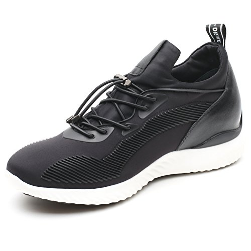 CHAMARIPA Men's Invisible Height Increasing Elevator Shoes-Light Weight Casual Sport Shoes 2.76 inches Taller H71C62V011D Black US9 D(M) (Elevator Shoes)