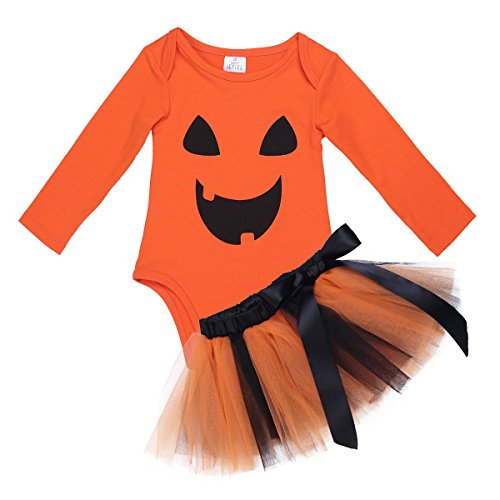 YiZYiF Baby Girl's 1st Halloween Costume Tutu Dress Newborn Princess Outfit Set Orange 9-12 (Top 20 Girl Halloween Costumes)
