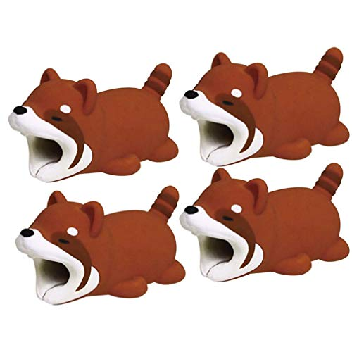 Hatoys 4Pcs Cable Bite for iPhone Cable Cord Animal Phone Accessory Protector (Brown)