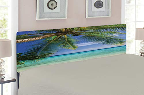 Ambesonne Ocean Headboard for King Size Bed, Tropical Paradise View at Maldives with Palms Clear Blue Sky Seashore Picture, Upholstered Metal Headboard for Bedroom Decor, Green Aqua Blue