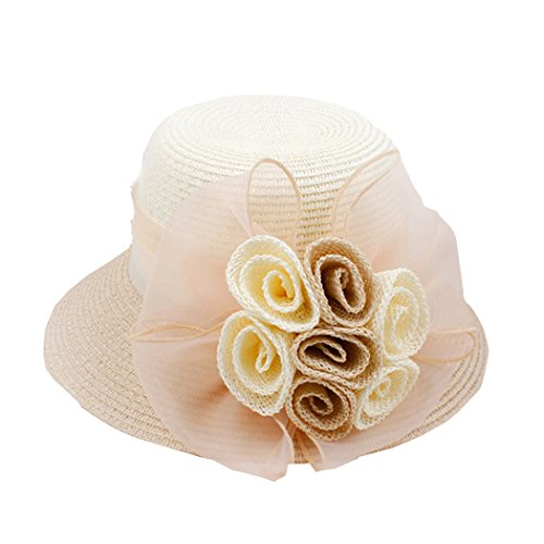 Women's Straw Hat Ribbon Flower Sun Hat Wide Brim Bridal Church Derby Cap (Ribbon Sun Hat)